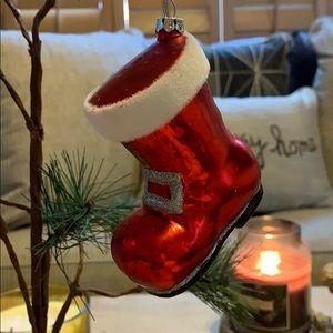 "3.5"" blown glass Santa Claus boot ornament Vtg"
